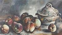stillleben mit pfirsichen und porzellanterrine by charles auguste humbert