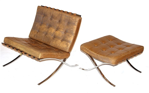 barcelona chairs and ottoman set of 3 by ludwig mies van der rohe