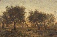 landschaftpartie mit bäumen in der dämmerung by francisque lemoine