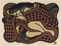 untitled, depicting a sleeping woman, her body tightly curled within a brown and black checked robe (+ 2 others, various sizes; 3 works) by mori yoshitoshi