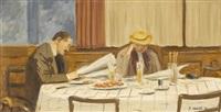 leser im restaurant by rudolf mülli