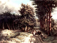 a treelined country road with a cowherd and his cattle in the foreground by marinus adrianus koekkoek the younger