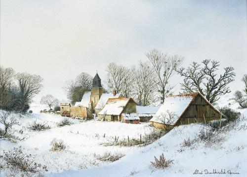 Bilder Mit Häusern winterlandschaft mit häusern um eine kirche by albert drachkovitch