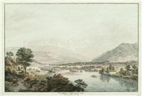 vue du chateau de wimmis et des environs (+ vue dessineé à mouri prés de berne; pair) by johann ludwig aberli