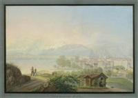 vue de génêve et du montblanc. j.henri bleuler à feuerthalen près de schaffhouse by johann heinrich bleuler the younger