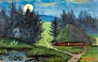 aargauer strohdachhaus unter nächtlichem himmel by johann othmar döbeli