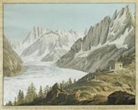 vue de la mer de glace, des aiguilles des charmos, du géant de la grande forasse et des hospices du sommet du montanvert by jean-antoine linck