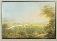 ansicht von dem schloss habsburg und dem bad schinznach in aargau by johann heinrich bleuler the elder