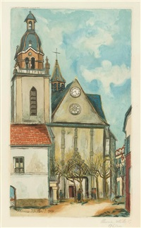 utrillo. l'église de limours by jacques villon
