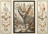 wanddekorationen mit kriegstrophäen (pair) by franciszek smuglewicz