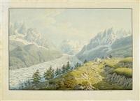 vue de la mer de glacie, à genève chez monty by jean-baptiste-louis hubert