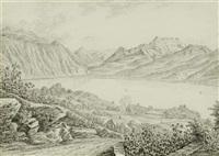 landschaft am genfer see bei montreux mit den umliegenden bergen by franz joseph leopold