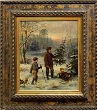 winterlandschaft in der abendröte mit vater und sohn beim fällen des weihnachtsbaums by franz krüger
