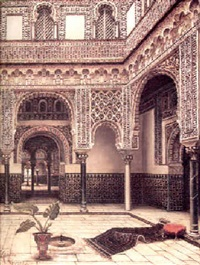 the courtyard at the alhambra, spain by tomas aceves
