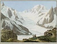 vue du mont-blanc, des aiguilles du midi, (...), prise du sommet du rocher du couverde by jean-antoine linck