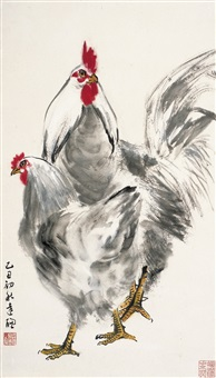 大吉图 (two chickens) by huang dacong