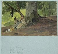 drei damen bei der nadelarbeit im wald by paul wilhelm tübbecke