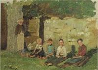 sitzende kinder vor einer mauer by paul wilhelm tübbecke