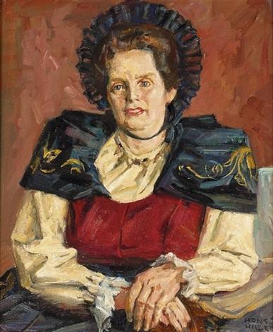 porträt einer dame in tracht by hans hilber