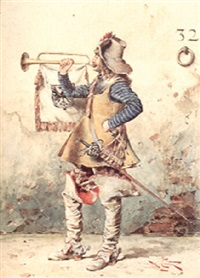 a cavalier blowing his trumpet by lodovico de courten