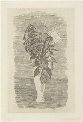fiori in un vasetto bianco by giorgio morandi