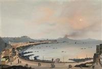 blick auf ischia, im vordergrund fischerboote (+ blick von neapel auf den rauchenden vesuv; pair) by anonymous-italian (19)