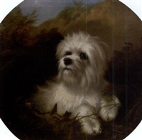 terrier in a landscape by thomas william earl