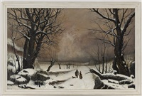 paysage d'hiver animé by henry grosjean