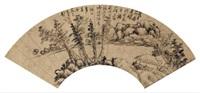 溪岸茅庐图 (landscape) by gong xian