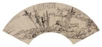 疏林茅屋 (landscape) by gong xian