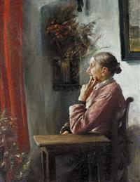 sitzende frau am fenster (halbfigur einer jungen frau, verso) by hans dietzi