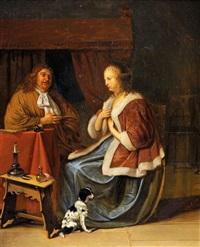 couple dans un intérieur by frans van mieris