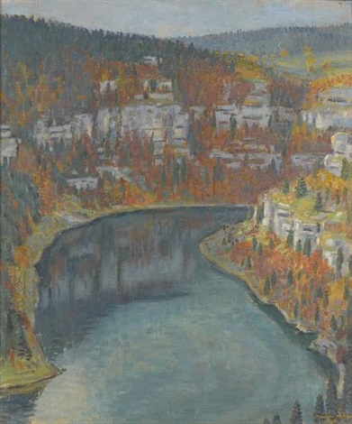 herbstliche partie am doubs by maurice mathey