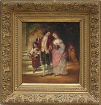 elegant gekleidetes rokokopaar vor parktreppe by theodor rabe