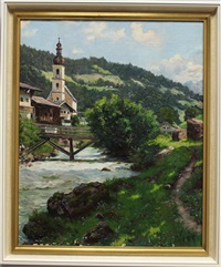 süddeutsche landschaft mit wallfahrtskirche by emil rau
