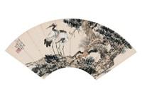 双鹤图 镜心 设色纸本 by xu beihong