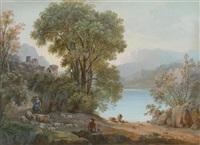 burgruine an einem see mit reisenden an einer brücke (+ arkadische landschaft mit schäfer und herde; pair) by agostino aglio