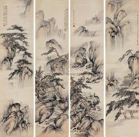 溪山隐居图 (in 4 parts) by zhao songsheng