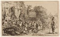 der dorfjahrmarkt mit den zwei scharlatane, rechts der kirchturm von eindhoven by constantijn daniel van renesse
