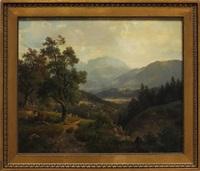 bayrische landschaft mit blick in talsohle (wohl kochelsee), im vordergrund auf anhöhe schäfer mit herde by ludwig sckell