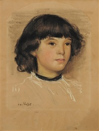 portrait de clémence by edouard (eugène françois) vallet