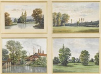 landschaften (4 works in 1 frame, various sizes) by paul de monicault