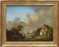 dorf an einem kanallauf mit booten by jan van os