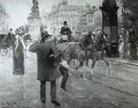 parisian street scene by jose soler