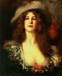 portrait of a lady with a plumed hat by rené avigdor