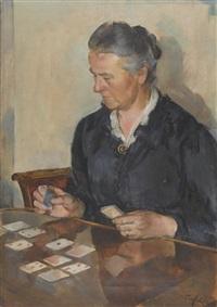 dame beim kartenspiel by friedrich traffelet