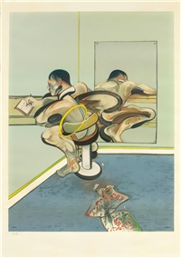 figure writing reflected in mirror by francis bacon