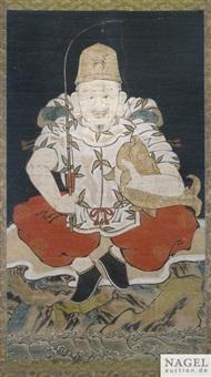 anonyme malerei mit darstellung des ebisu, tusche und farbe auf papier by anonymous-japanese (edo period)