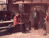 a tavern interior with two british officers questioning a young man by thomas hill