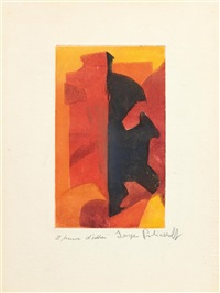 komposition in orange, rot und schwarz by serge poliakoff